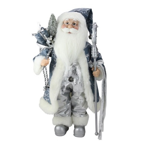 """Northlight 16"""" Ice Palace Standing Santa Claus Holding A Staff and Bag Christmas Figure - image 1 of 3"""