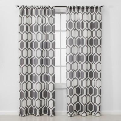 "2pc 84""x40"" Honeycomb Light Filtering Window Curtain Panel Gray - Project 62™"