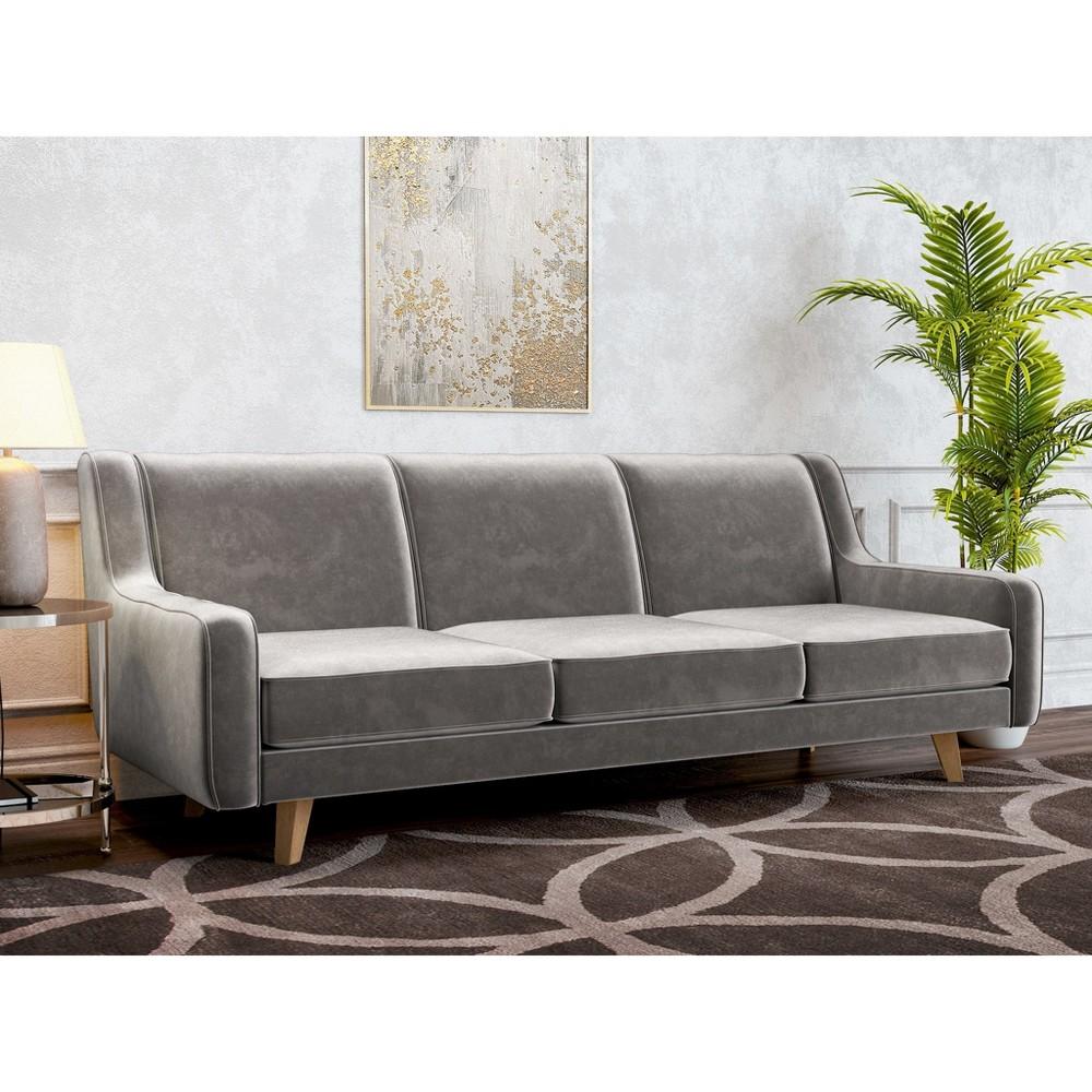 Image of Hazel Modern Velvet Sofa Platinum - AF Lifestlye, White