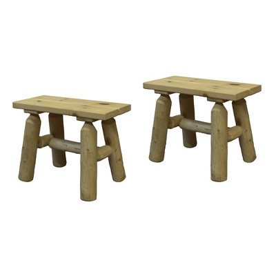 Lakeland Mills White Cedar Tree Log Wood Outdoor Patio Porch Side End Accent Bench, Natural