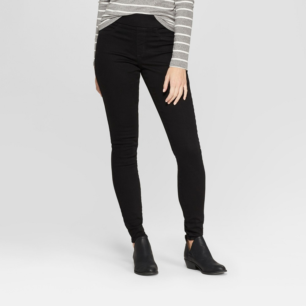Women's High-Rise Pull On Jeggings - Universal Thread Black 4 Long