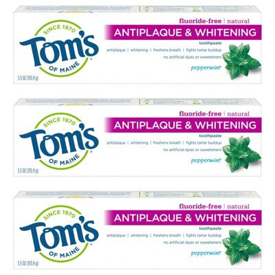 Tom's of Maine Anti-plaque and Whitening Toothpaste Natural Peppermint - 5.5oz/3ct
