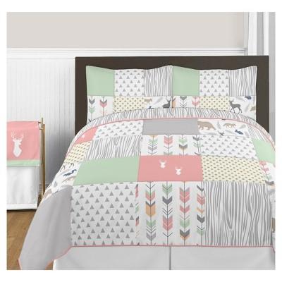 Coral & Mint Woodsy Comforter Set (Full/Queen) - Sweet Jojo Designs