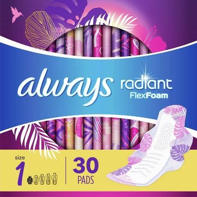 Always Radiant Regular Absorbency Pads with Wings - Scented - Size 1