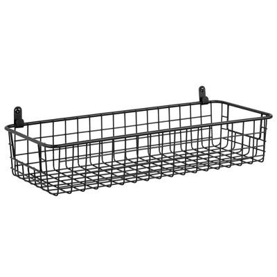 mDesign Metal Wall Mount Hanging Basket Shelf for Home Storage