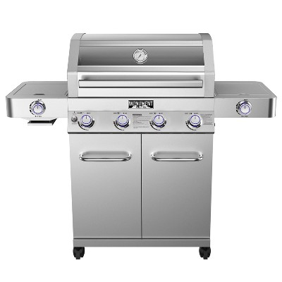 4-Burner Propane Stainless Steel Gas Grill with Clearview Lid Model 35633 - Monument Grills