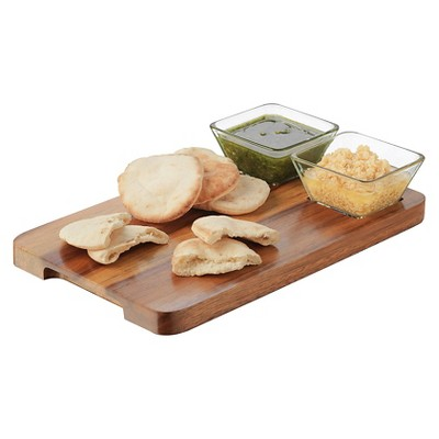Libbey 3pc Square Acaciawood Dipping Set