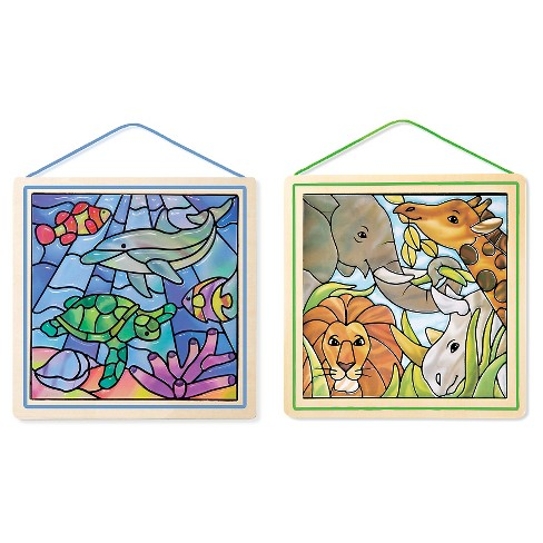 Melissa & Doug® Stained Glass Made Easy Activity Kits Set: Ocean and Safari - 190+ Stickers, 2 Frames - image 1 of 2