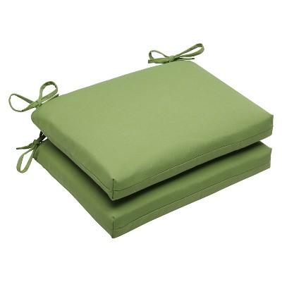 2pc Squared Edge Seat Cushion Set - Green - Sunbrella