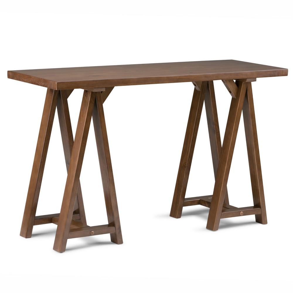 Hawkins Solid Wood Console Sofa Table Medium Saddle Brown - Wyndenhall