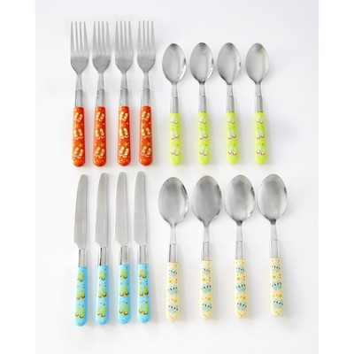 Lakeside Flip Flop Silverware Set with Colored, Plastic Handles for Kids, Adults - 16-Pc.