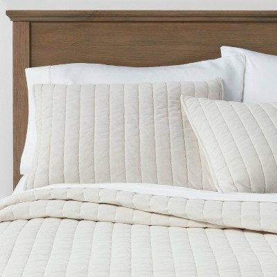 King Channel Stitch Velvet Quilt Cream - Threshold™