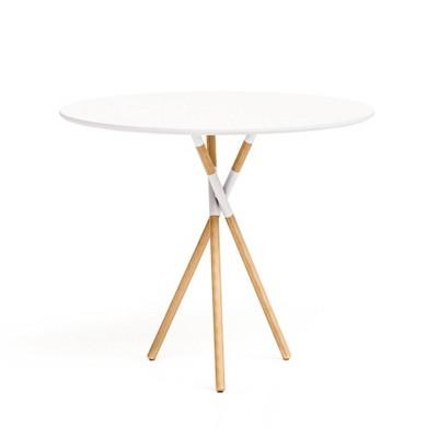 "30"" Blythe Round Dining Table White/Natural - Jamesdar"