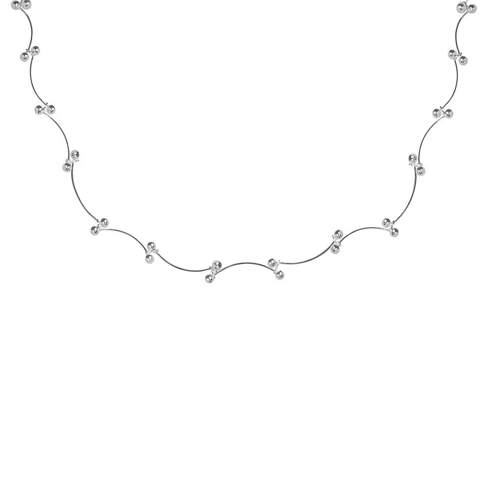 Women's Fancy Scallop Bead Chain Necklace in Sterling Silver (18)