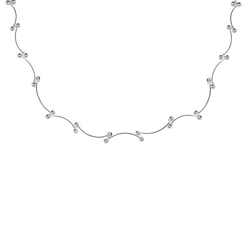"Women's Fancy Scallop Bead Chain Necklace in Sterling Silver (18"") - image 1 of 1"