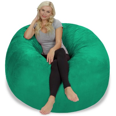 5' Large Bean Bag Chair with Memory Foam Filling and Washable Cover Tide Green - Relax Sacks