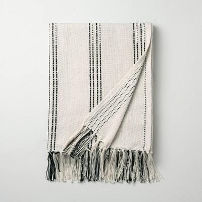 Stitch Stripes Summer Fringe Throw Black/White - Hearth & Hand™ with Magnolia