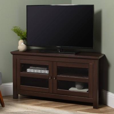 "Modern 2 Glass Door Corner TV Stand for TVs up to 50"" - Saracina Home"