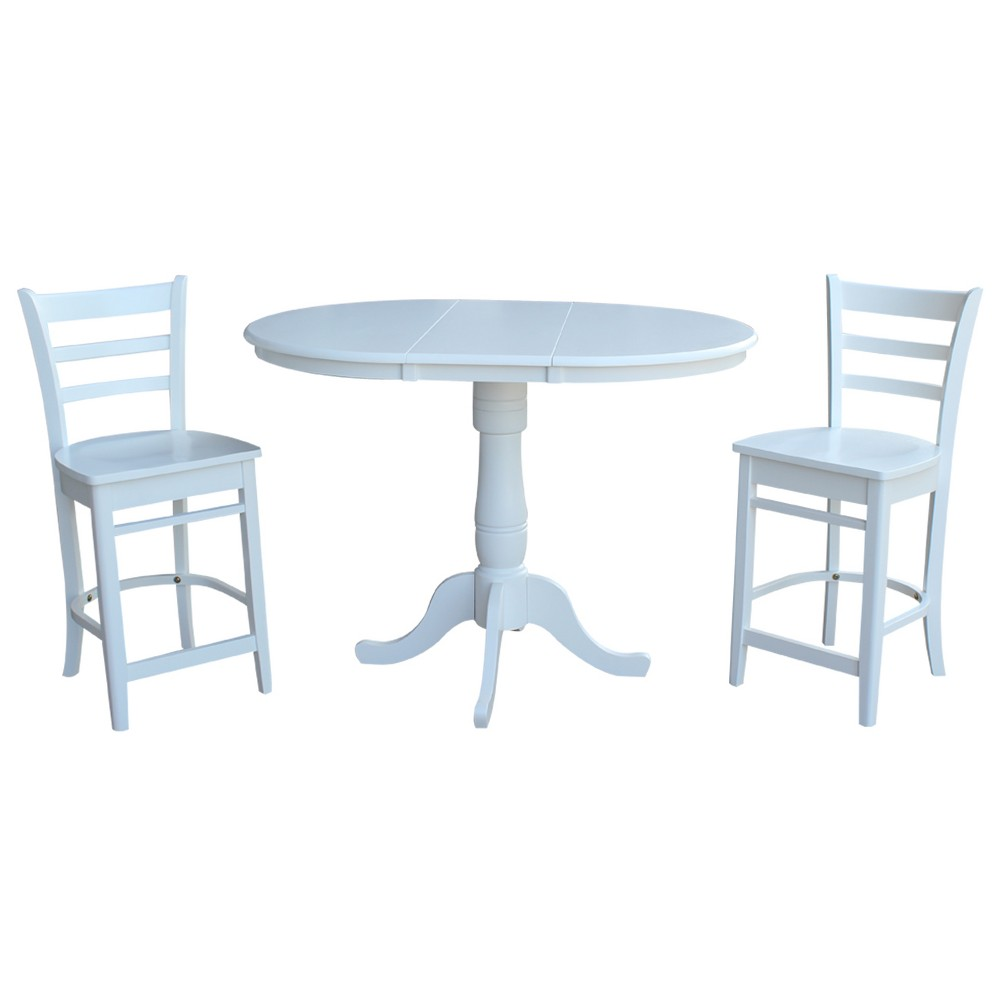 36 3pc Round Extension Dining Table with 2 Emily Counterheight Stools Set White - International Concepts