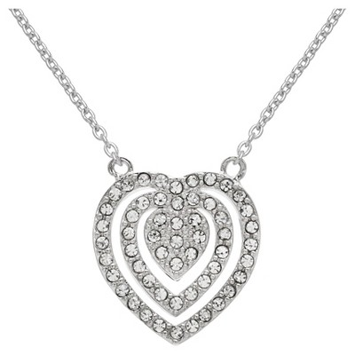 "Triple Heart Pendant in Silver Plate with Crystals from Swarovski - Clear/Gray (18"")"