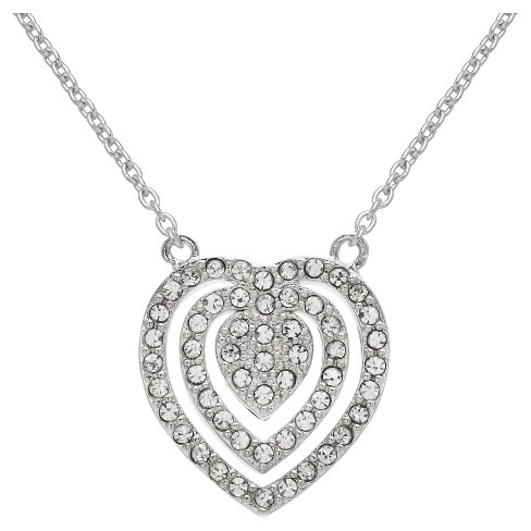 """Triple Heart Pendant in Silver Plate with Crystals from Swarovski - Clear/Gray (18"""") - image 1 of 1"""