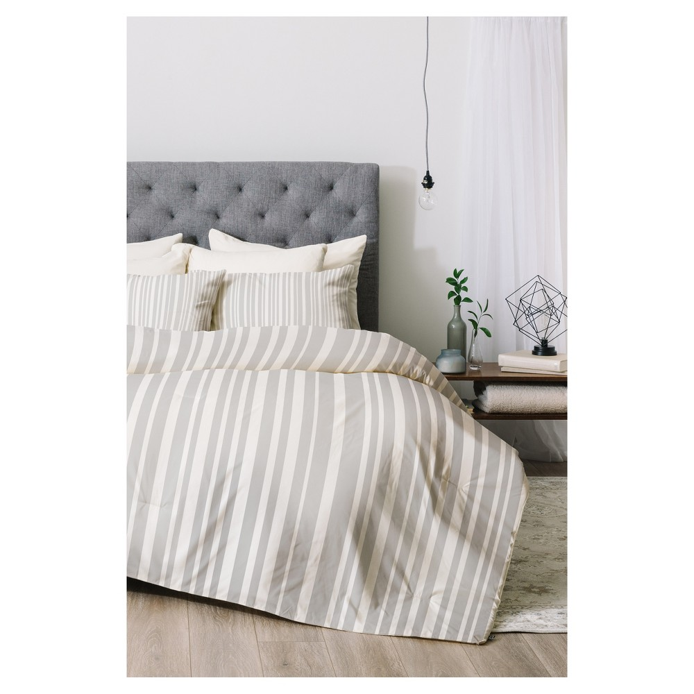 Gray Lisa Argyropoulos Stripe Comforter Set (Queen) 3pc - Deny Designs
