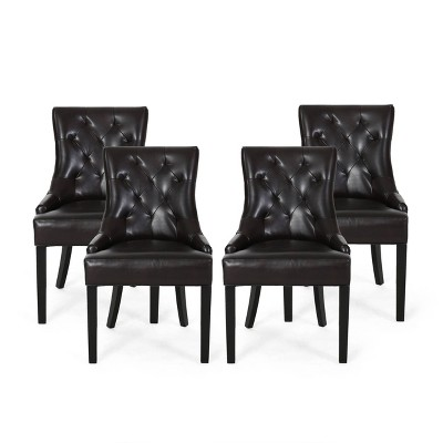 Set of 4 Hayden Contemporary Tufted Bonded Leather Dining Chairs Brown/Espresso - Christopher Knight Home
