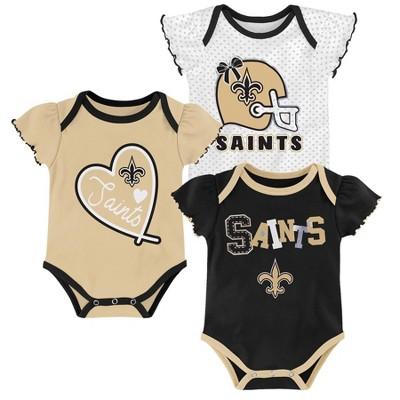 NFL New Orleans Saints Baby Girls' Newest Fan 3pk Bodysuit Set - 3-6M