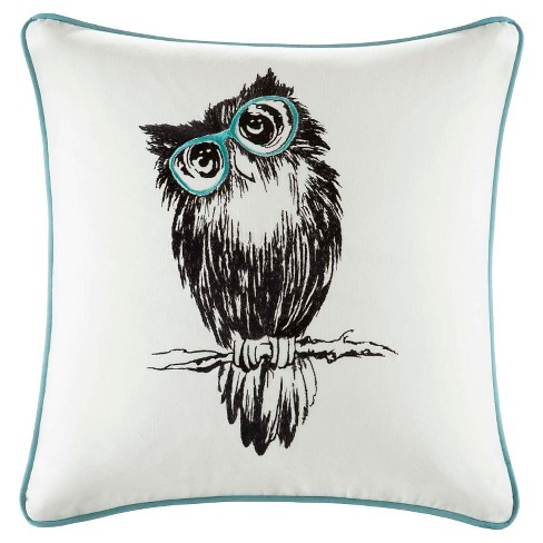 "Aqua Owlfred Owl Embroidered Cotton Throw Pillow - (20x20"") - image 1 of 2"