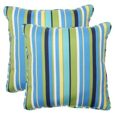 Pillow Perfect™ 2-Piece Outdoor Square Throw Pillows - Topanga Stripe