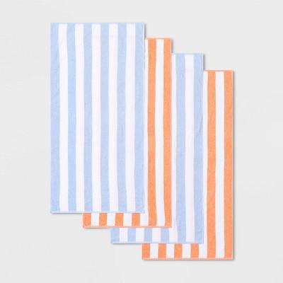 4pk Cabana Striped Beach Towel Set Blue/Pink - Sun Squad™