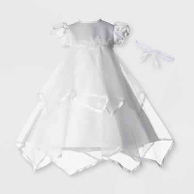 Small World Baby Girls' Christening Taffeta Dress with Headband - White 6-9M