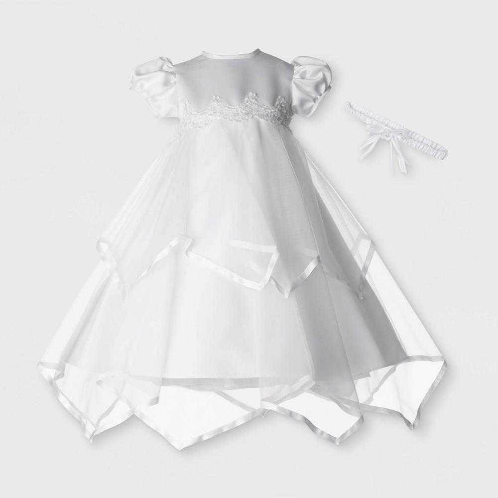 Image of Small World Baby Girls' Christening Taffeta Dress with Headband - White 0-3M, Girl's