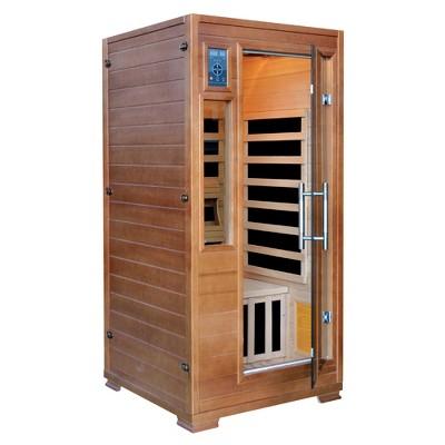 Majestic Saunas 1 2 Person Hemlock Infrared Sauna With 5 Carbon Heaters    Brown