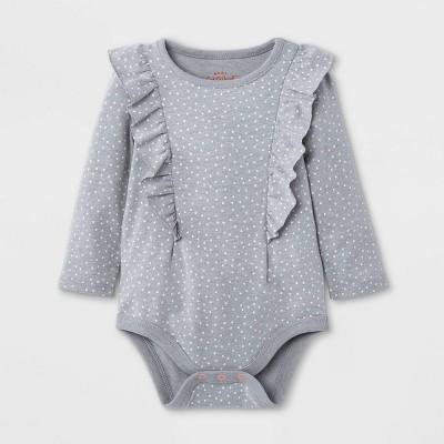 Baby Girls' Dot Ruffle Long Sleeve Bodysuit - Cat & Jack™ Gray 0-3M