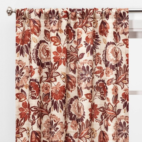 "2pc 84""x40"" Jacobean Floral Light Filtering Window Curtain Panels - Threshold™ - image 1 of 5"