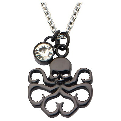 """Women's Marvel Hydra Cutout Stainless Steel Black IP Pendant Necklace with Clear CZ (18"""")"""