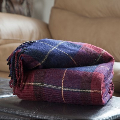 Hastings Home Cashmere-Like Blanket Throw - Blue/Red Plaid