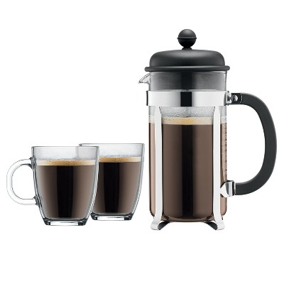 Bodum Brazil 8 Cup / 34oz French Press Coffee For Two Set - Black