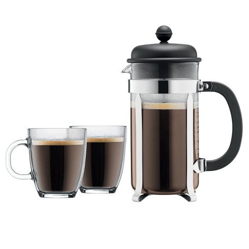 Bodum Caffettiera 8 Cup 34oz French Press Coffee For Two Set Black