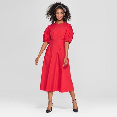 9cabb666b764 Women s Puff Sleeve Midi Dress - Who What Wear™ Red L   Target