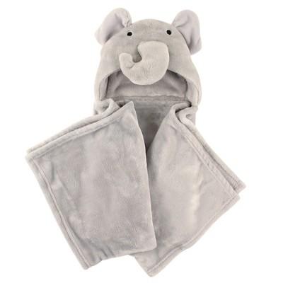 Hudson Baby Infant Hooded Animal Face Plush Blanket, Elephant, One Size
