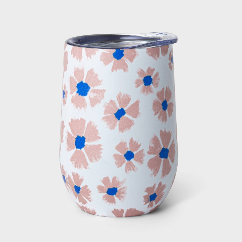 Image of 11oz Double Wall Stainless Steel Vacuum Wine Tumbler with Lid Cornflower Pink - Room Essentials