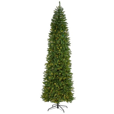9ft Nearly Natural Pre-Lit LED Slim Mountain Pine Artificial Christmas Tree Clear Lights