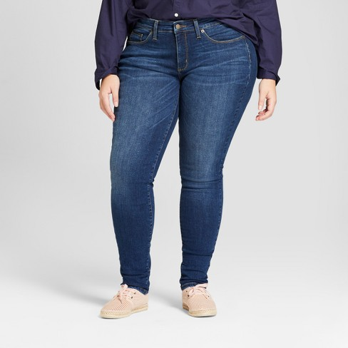 Women's Plus Size Curvy Skinny Jeans - Universal Thread™ Dark Wash - image 1 of 3