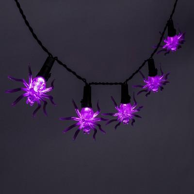 """81"""" LED Incandescent Purple Spider Halloween String Lights - Hyde & EEK! Boutique™"""