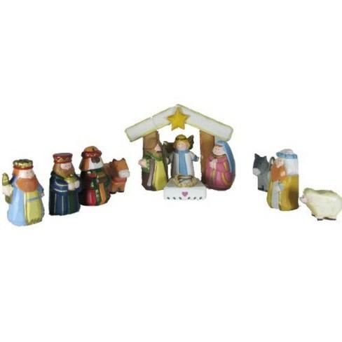 Kurt S Adler 12 Piece Hand Carved Wooden Childrens First Christmas Nativity Set