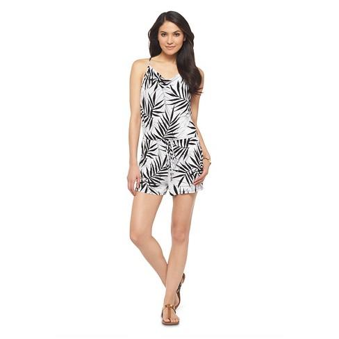 818df338503 Women s Palm Print Romper Black White - Mossimo   Target