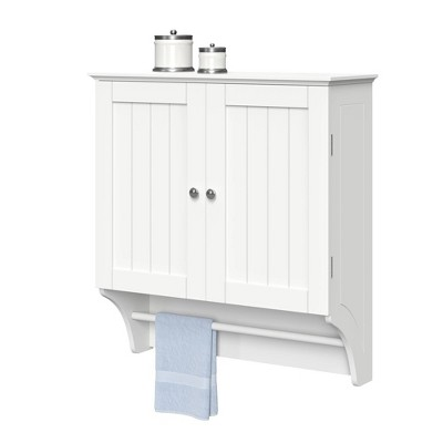 Beadboard Wall Cabinet with Towel Bar White
