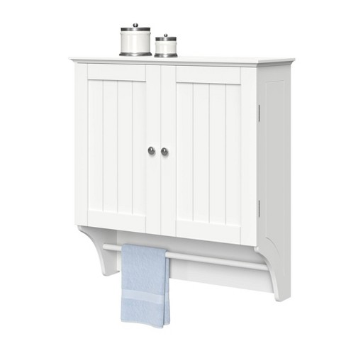 Bathroom Wall Cabinet White | Beadboard Wall Cabinet With Towel Bar White
